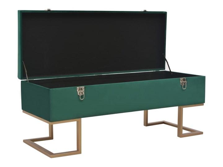 vidaXL Ławka ze schowkiem, 105 cm, zielona, aksamitna Pikowana Skrzynia Pomieszczenie Salon Kolor Zielony