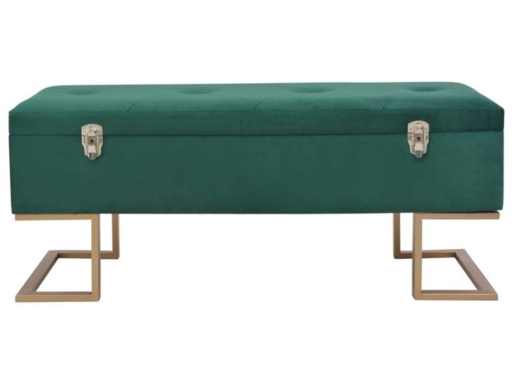 vidaXL Ławka ze schowkiem, 105 cm, zielona, aksamitna Pikowana Skrzynia Materiał obicia Tkanina Kategoria Ławki do salonu