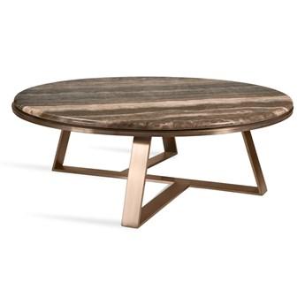 Niski okrągły marmurowy stolik kawowy z geometryczną złotą podstawą 100 x 34 cm CJ959