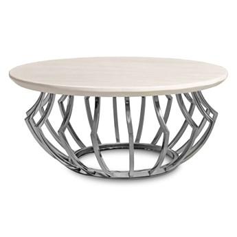 Okrągły stolik z jasnym marmurowym blatem  Ø80 Cj955