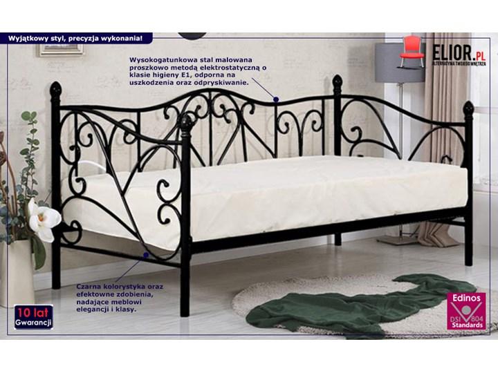 Pojedyncze metalowe łóżko jednoosobowe Dolie 90x200 - czarne Rozmiar materaca 100x200 cm Tradycyjne Rozmiar materaca 90x200 cm