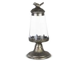 LEONA lampion metalowy / świecznik z przezroczystym szkłem i ozdobnym ptaszkiem, wys. 30 cm