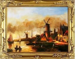 WIATRAK PRZY MORZU obraz ręcznie malowany w złotej ramie dekoracyjnej, 37x47 cm