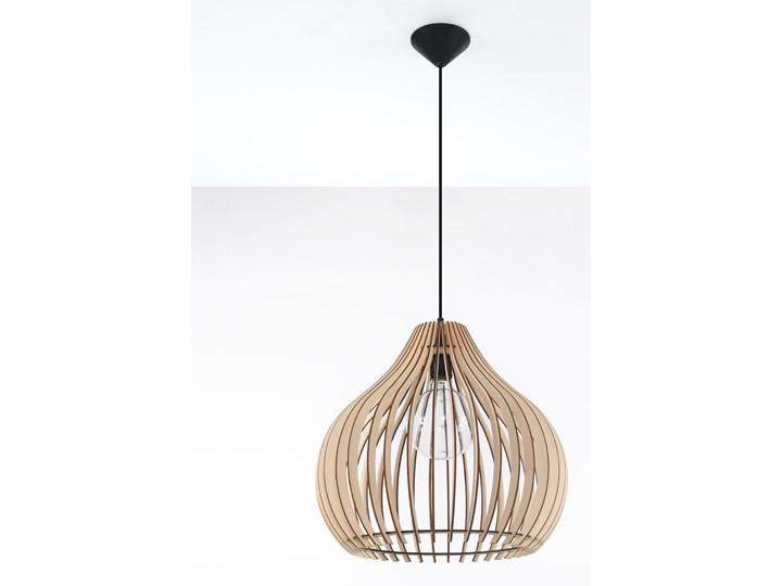 SOLLUX Nowoczesna Oprawa Sufitowa Lampa Wisząca APRILLA Naturalne Drewno Lampa Wisząca Stalowa do Salonu Sypialni Oświetlenie E27 LED