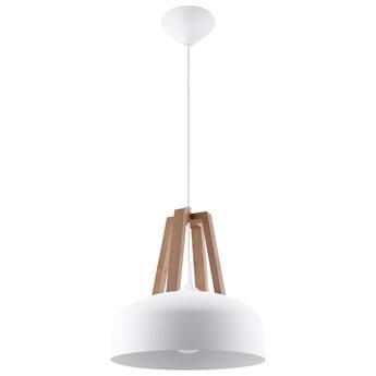 SOLLUX Designerska Lampa Wisząca CASCO Biała/Naturalne Drewno Zwis Sufitowy LED