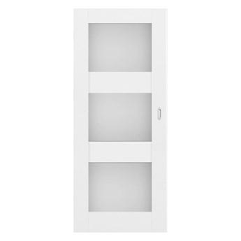 Drzwi pokojowe przesuwne Tre 80 bezfelcowe białe