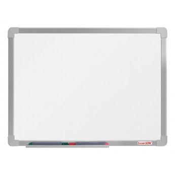 Biała, magnetyczna tablica boardOK, 60 x 45 cm, eloksowana rama