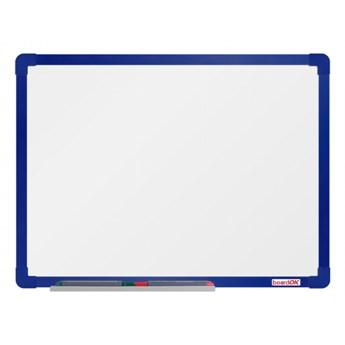 Biała magnetyczna tablica boardOK, 60 x 45 cm, niebieska aluminiowa rama