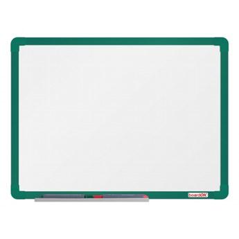Biała magnetyczna tablica boardOK, 60 x 45 cm, zielona rama