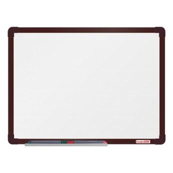 Biała magnetyczna tablica boardOK, 60 x 45 cm, brązowa rama