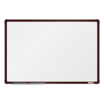 Biała magnetyczna tablica boardOK, 90 x 60 cm, brązowa rama