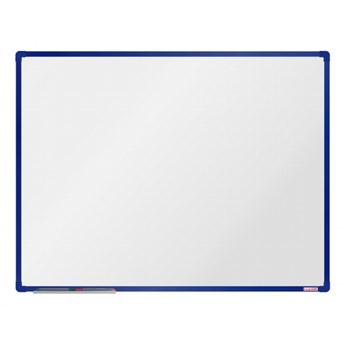 Biała magnetyczna tablica boardOK, 120 x 90 cm, niebieska rama