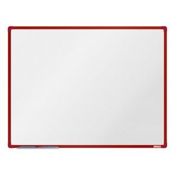 Biała magnetyczna tablica boardOK, 120 x 90 cm, czerwona rama