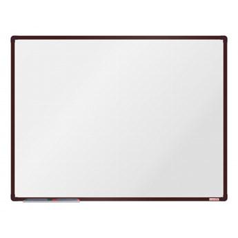 Biała magnetyczna tablica boardOK, 120 x 90 cm, brązowa rama