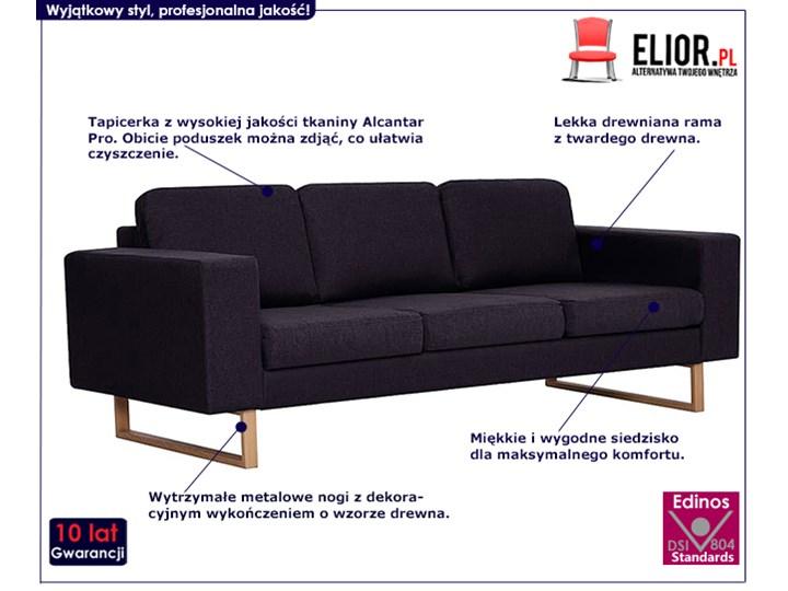 Elegancka trzyosobowa sofa Williams 3X - czarna Kolor Czarny Szerokość 82 cm Stała konstrukcja Kategoria Sofy i kanapy