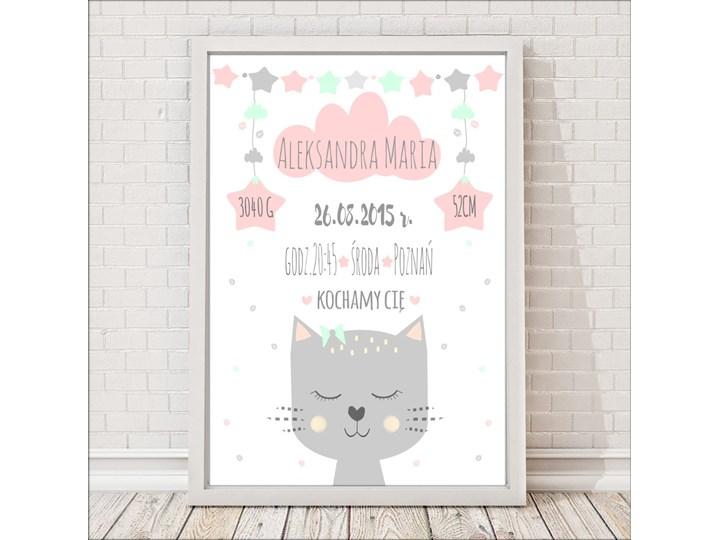Metryczka kotek dla dzieci różowo-miętowa