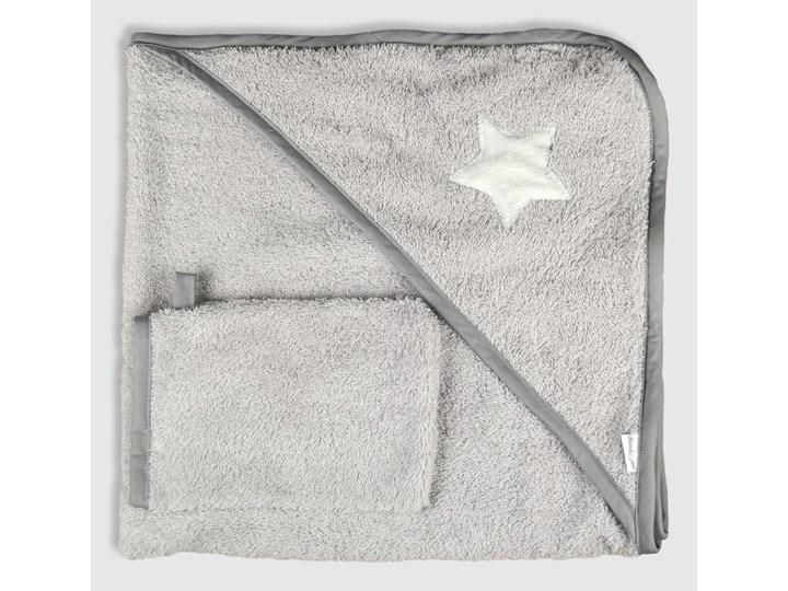 Gwiazda (lamówka grafit) - okrycie kąpielowe 80x80cm z myjką