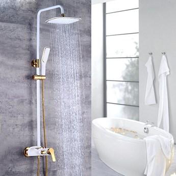 Biało złoty zestaw prysznicowy
