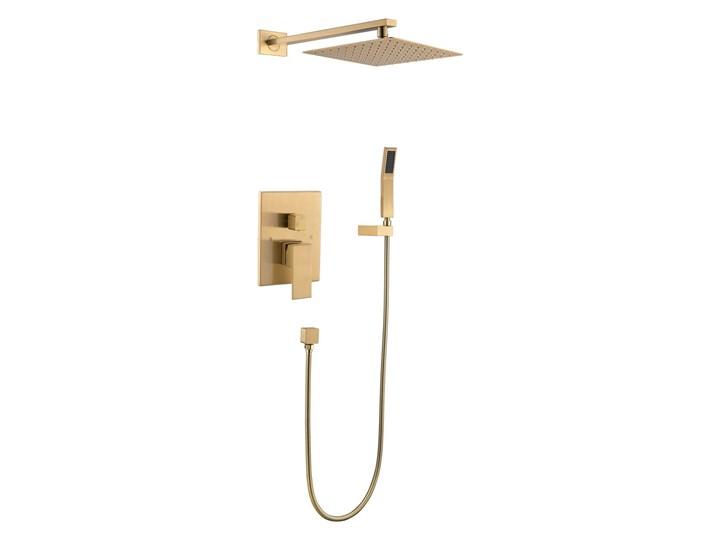 Złoty zestaw prysznicowy podtynkowy wannowy 30x30cm Wyposażenie Z deszczownicą Wyposażenie Z uchwytem