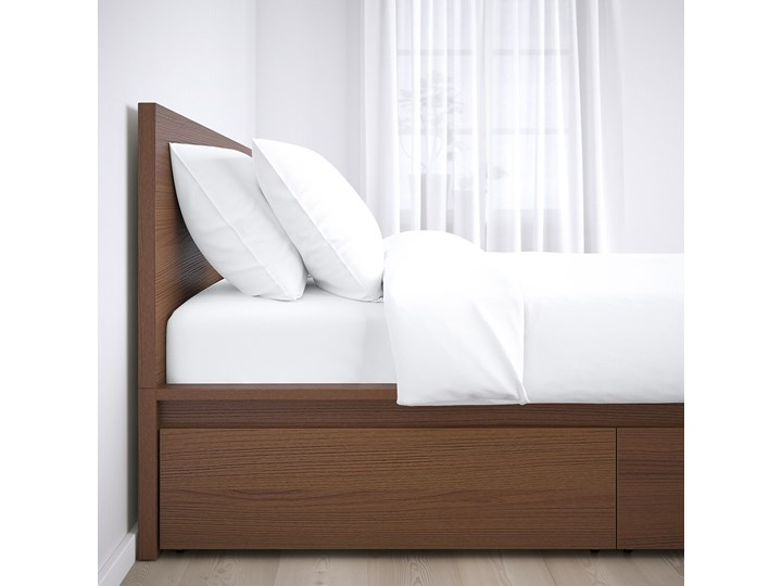 IKEA MALM Rama łóżka z 4 pojemnikami, Brązowa bejca okleina jesionowa, 160x200 cm Łóżko drewniane Drewno Kolor Szary