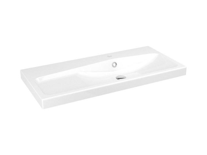 Umywalka konglomeratowa GoodHome Mila 100 cm z syfonem Prostokątne Kategoria Umywalki Kolor Biały