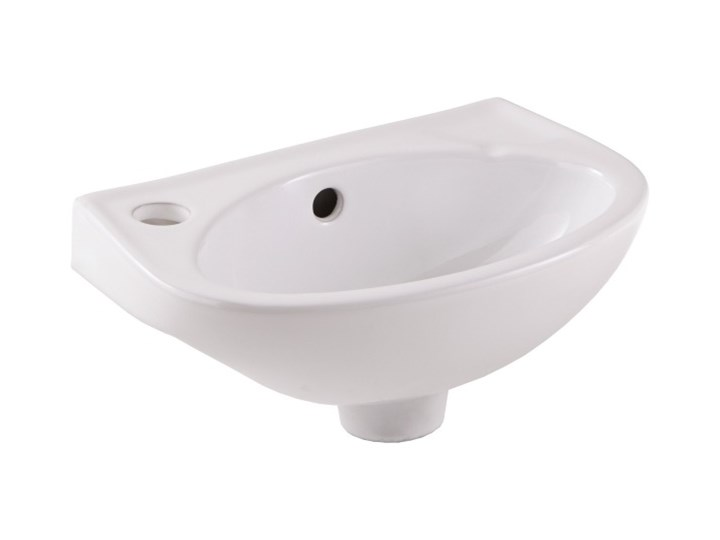 Umywalka ścienna ceramiczna GoodHome Bori 35 x 23 cm biała z otworem na armaturę Kolor Biały Ceramika Podwieszane Półokrągłe Szerokość 35 cm Kategoria Umywalki