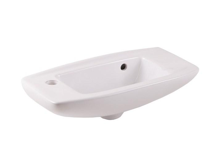 Umywalka ścienna ceramiczna GoodHome Musi 50,5 x 24 cm z otworem na armaturę biała Szerokość 51 cm Prostokątne Szerokość 50 cm Podwieszane Ceramika Kolor Biały