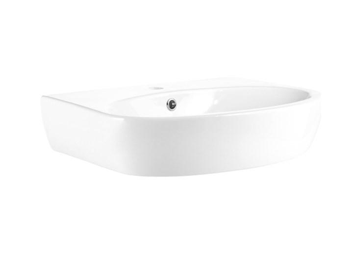 Umywalka ścienna GoodHome Lugana 60 x 46 cm z otworem na armaturę Szerokość 60 cm Podwieszane Kategoria Umywalki Półokrągłe Kolor Biały