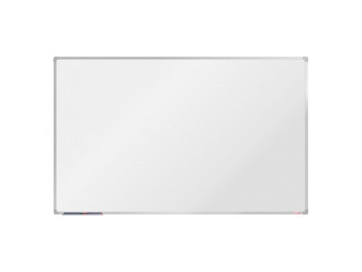 Biała magnetyczna tablica boardOK, 60 x 45 cm, niebieska rama