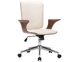vidaXL Obrotowe krzesło biurowe, kremowe, ekoskóra i gięte drewno