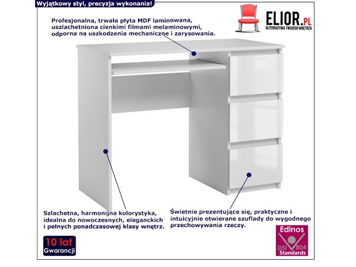 Lakierowane białe biurko - Aglo Szerokość 90 cm Głębokość 50 cm Styl Nowoczesny