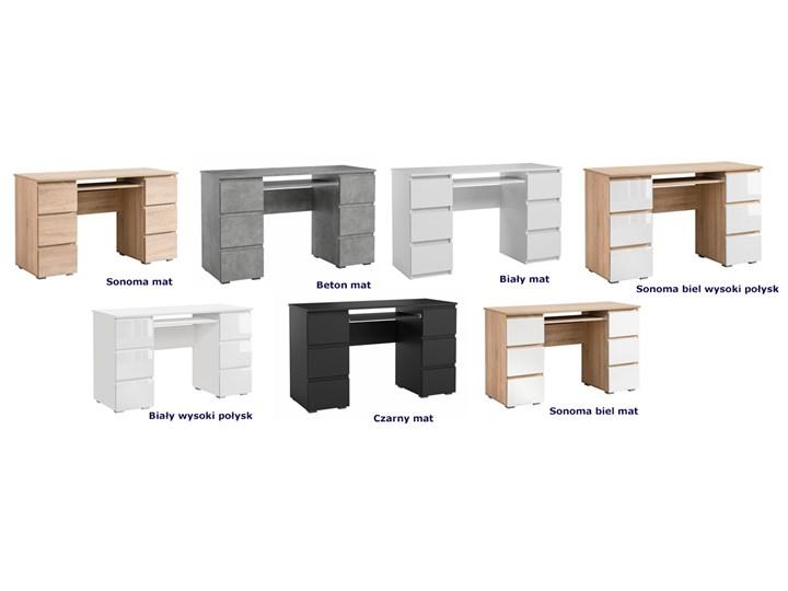 Matowe biurko białe - Aglo 2X Szerokość 130 cm Głębokość 50 cm Styl Nowoczesny