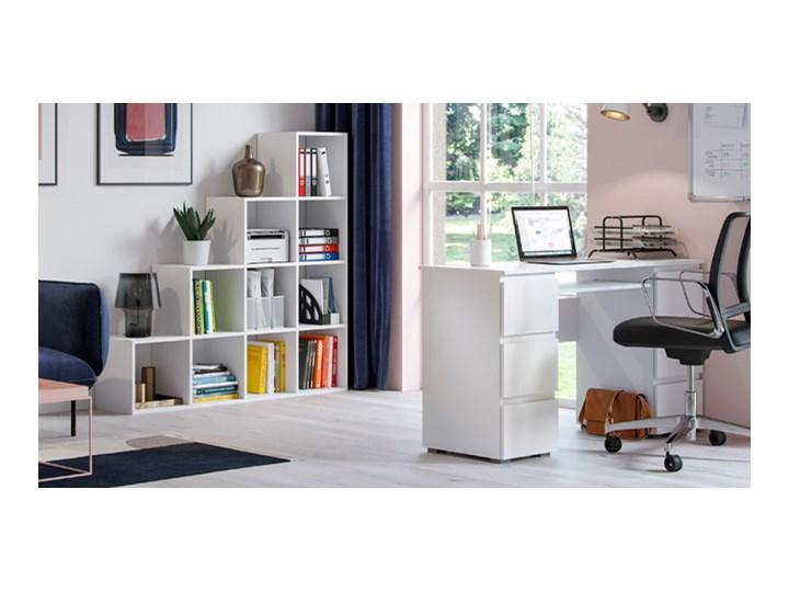 Matowe biurko białe - Aglo 2X Głębokość 50 cm Szerokość 130 cm Styl Nowoczesny