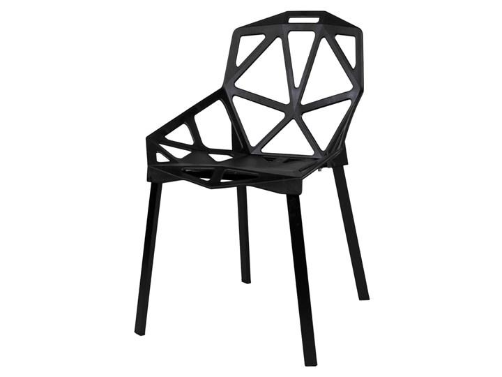Krzesło metalowe KAZADI CZARNE Tworzywo sztuczne Głębokość 46 cm Krzesło inspirowane Szerokość 54 cm Wysokość 82 cm Pomieszczenie Salon Styl Nowoczesny