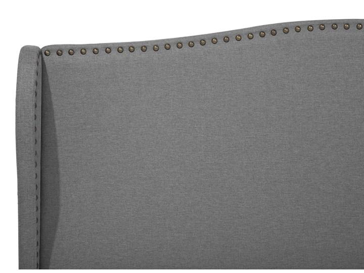 Łóżko ze stelażem tapicerowane szare 160 x 200 cm z zagłówkiem styl glamour Łóżko tapicerowane Kolor Czarny