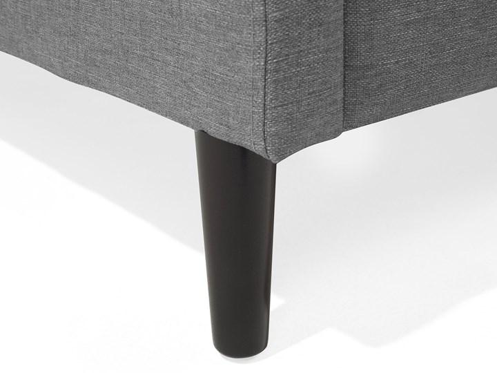 Łóżko ze stelażem tapicerowane szare 160 x 200 cm z zagłówkiem styl glamour Łóżko tapicerowane Kolor Czarny Kategoria Łóżka do sypialni