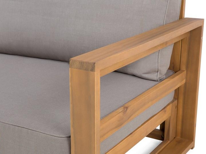 Zestaw mebli ogrodowych jasne drewno akacjowe narożnik szare poduszki stolik kawowy Styl Nowoczesny Zestawy kawowe Zestawy modułowe Zestawy wypoczynkowe Kategoria Zestawy mebli ogrodowych
