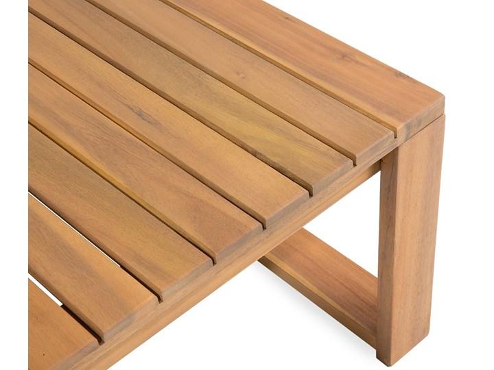 Zestaw mebli ogrodowych jasne drewno akacjowe narożnik szare poduszki stolik kawowy Zestawy wypoczynkowe Zestawy modułowe Zestawy kawowe Styl Nowoczesny