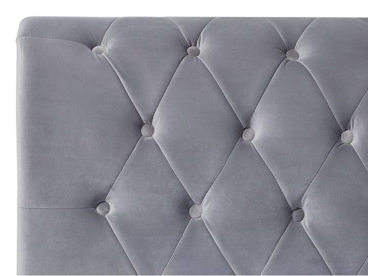 Łóżko ze stelażem szare welurowe 180 x 200 cm z zagłówkiem pikowane styl glamour Łóżko tapicerowane Kolor Szary