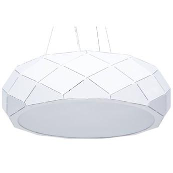 Lampa wisząca biała metalowa 121 cm ażurowa geometryczny klosz 3 żarówki nowoczesna