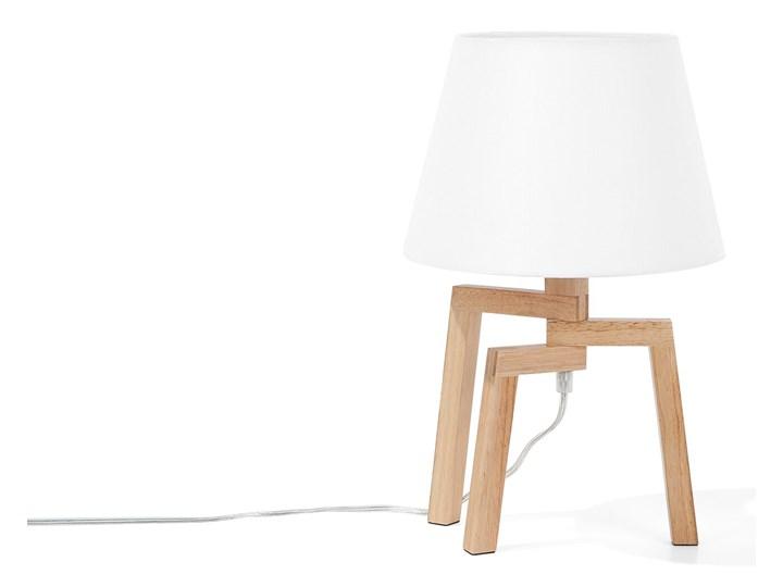 Lampa stołowa biała jasne drewno 42 cm trójnóg skandynawska Lampa z abażurem Kolor Biały Lampa nocna Styl Skandynawski
