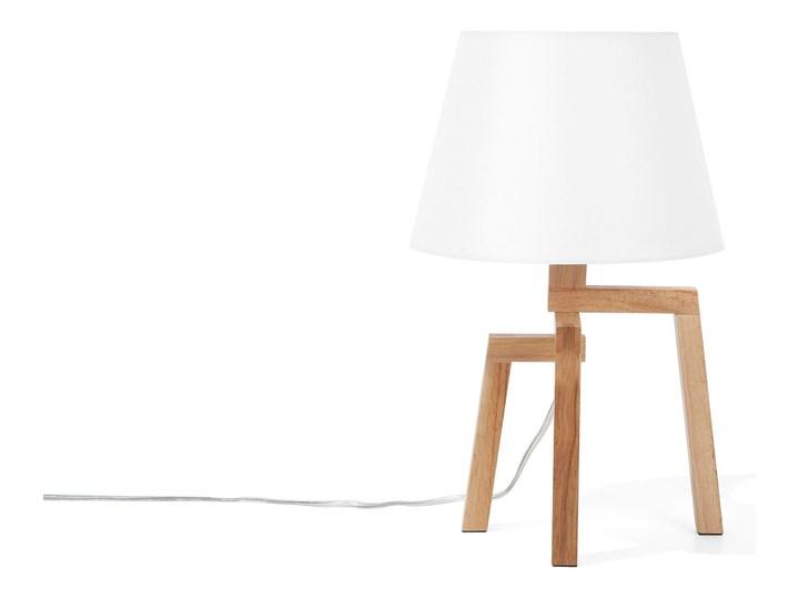 Lampa stołowa biała jasne drewno 42 cm trójnóg skandynawska Lampa z abażurem Lampa nocna Styl Skandynawski Kolor Biały