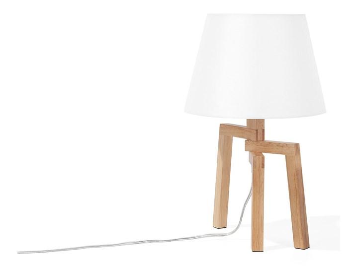 Lampa stołowa biała jasne drewno 42 cm trójnóg skandynawska Lampa z abażurem Lampa nocna Kategoria Lampy stołowe Styl Skandynawski