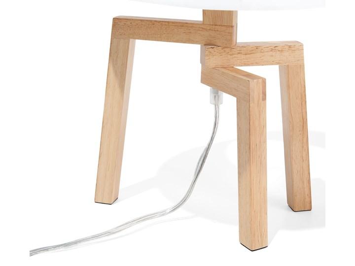 Lampa stołowa biała jasne drewno 42 cm trójnóg skandynawska Lampa z abażurem Lampa nocna Kolor Biały Kategoria Lampy stołowe