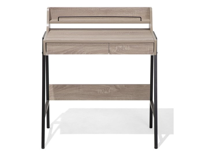 Małe biurko jasnobrązowe 73 x 48 cm z nadstawką i szufladami na stalowej ramie Płyta MDF Biurko komputerowe Szerokość 72 cm Biurko z nadstawką Drewno Styl Industrialny