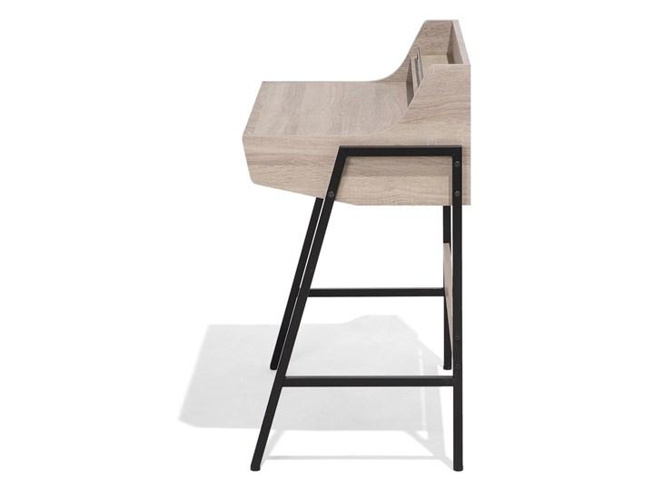 Małe biurko jasnobrązowe 73 x 48 cm z nadstawką i szufladami na stalowej ramie Drewno Biurko z nadstawką Szerokość 72 cm Płyta MDF Biurko komputerowe Pomieszczenie Biuro