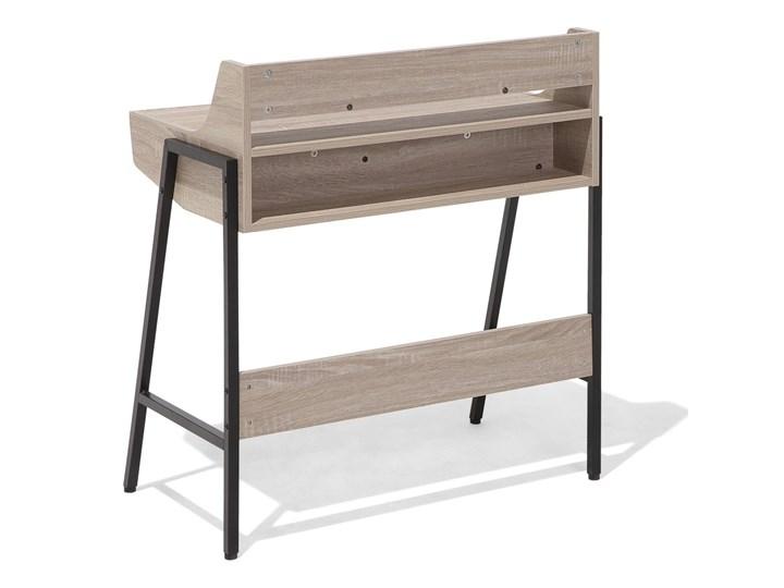 Małe biurko jasnobrązowe 73 x 48 cm z nadstawką i szufladami na stalowej ramie Biurko komputerowe Biurko z nadstawką Szerokość 72 cm Drewno Płyta MDF Styl Nowoczesny