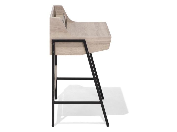 Małe biurko jasnobrązowe 73 x 48 cm z nadstawką i szufladami na stalowej ramie Płyta MDF Drewno Biurko z nadstawką Szerokość 72 cm Biurko komputerowe Kategoria Biurka