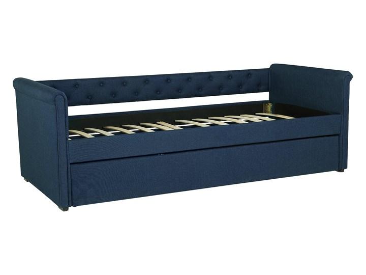 Łóżko dziecięce wysuwane ze stelażem ciemnoniebieskie tapicerowane tkaniną pikowane oparcie 90 x 200 cm Tworzywo sztuczne Kategoria Łóżka dla dzieci Drewno Rozmiar materaca 90x200 cm
