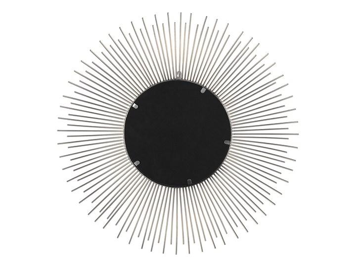 Lustro wiszące ścienne srebrne 80 cm okrągłe metalowe promienie słońca Lustro z ramą Kolor Srebrny Pomieszczenie Sypialnia
